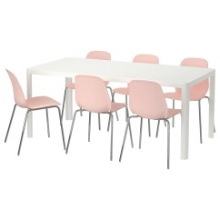 Table And 6 Chairs Hickory Chair Sofa Leifarne Tingby White Pink 180 Cm Ikea