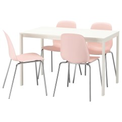 Pink Dining Room Chairs Baby Bjorn High Chair Red And Black Leifarne Vangsta Table 4 White 120 180 Cm