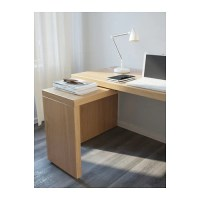 MALM Desk with pull-out panel Oak veneer 151x65 cm - IKEA