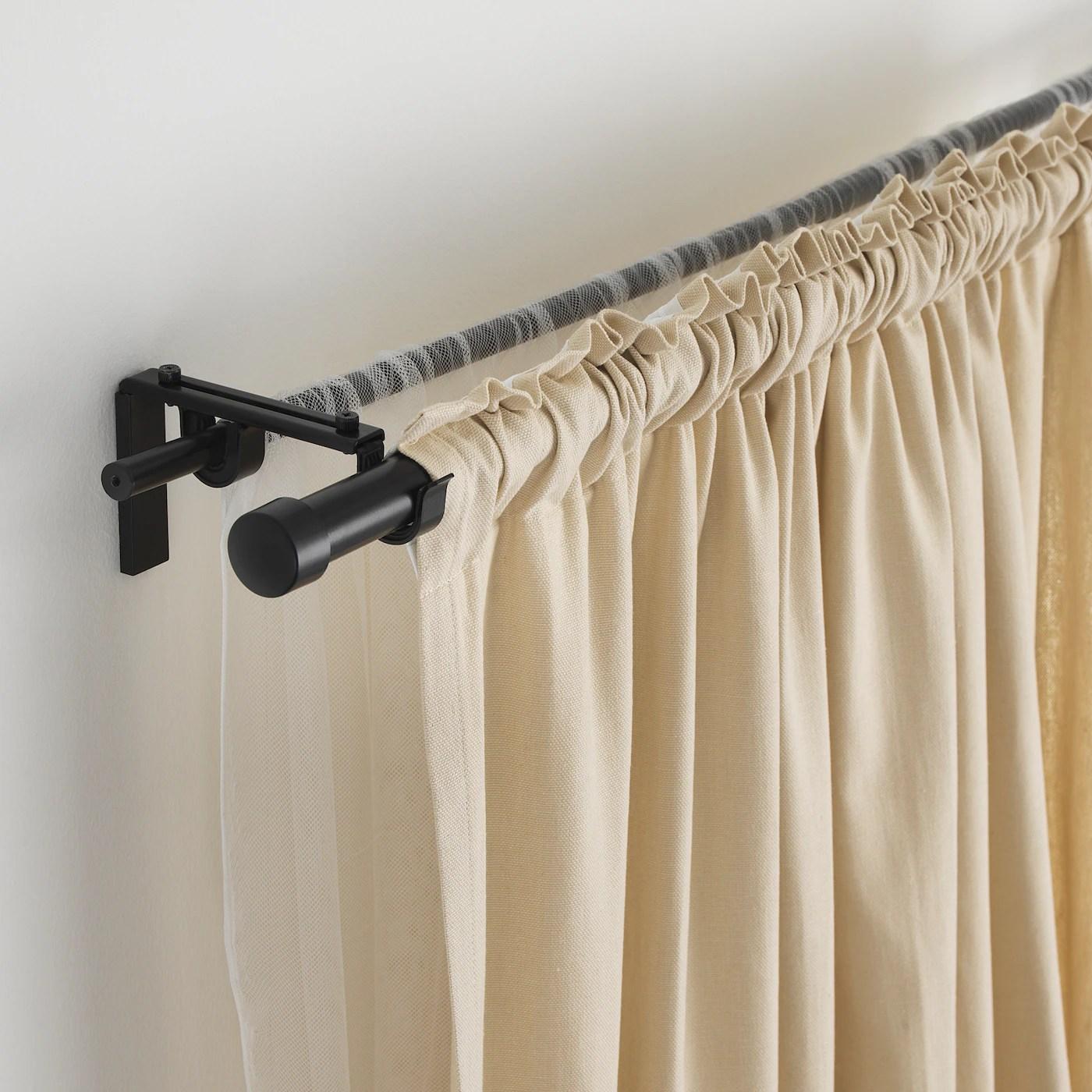 racka hugad double curtain rod combination black 210 385 cm