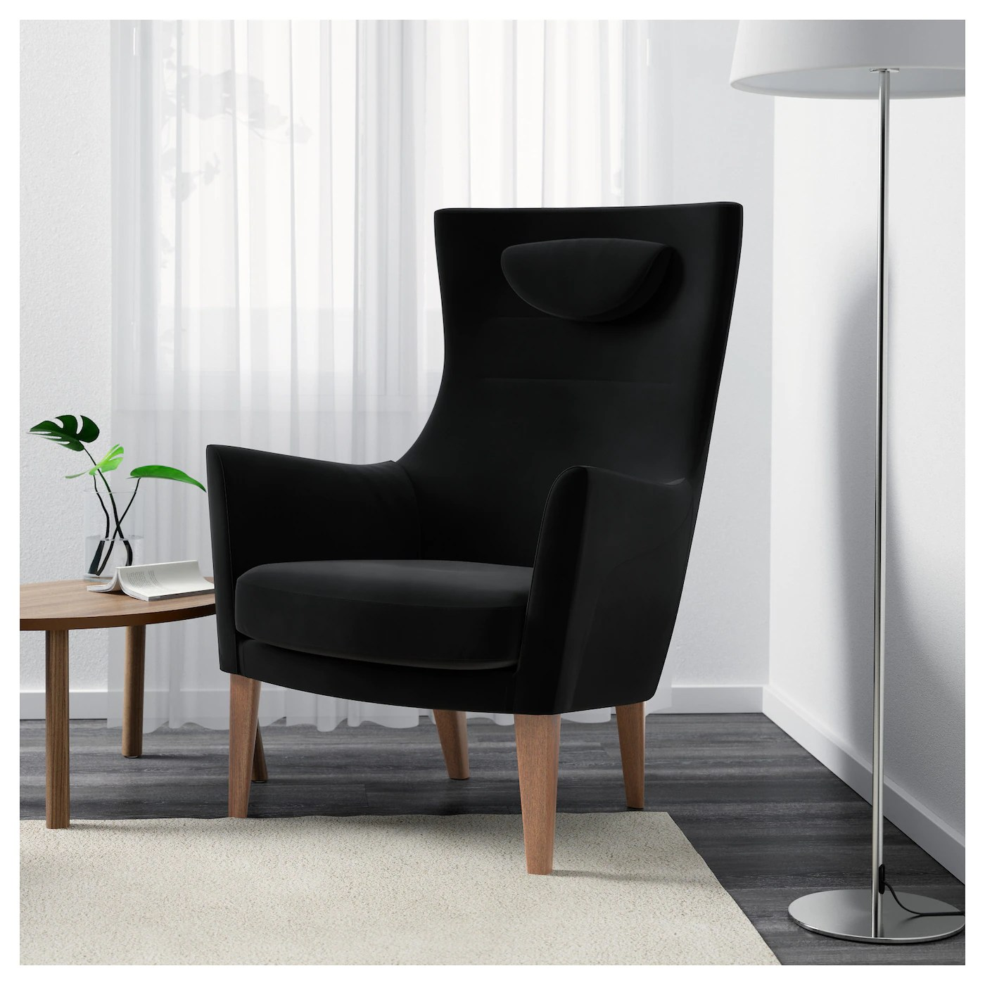 ikea stockholm chair faux leather dining room chairs high back armchair sandbacka black