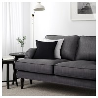 STOCKSUND Three-seat sofa Nolhaga dark grey/black/wood - IKEA