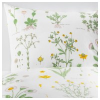 STRANDKRYPA Quilt cover and 4 pillowcases Floral patterned ...