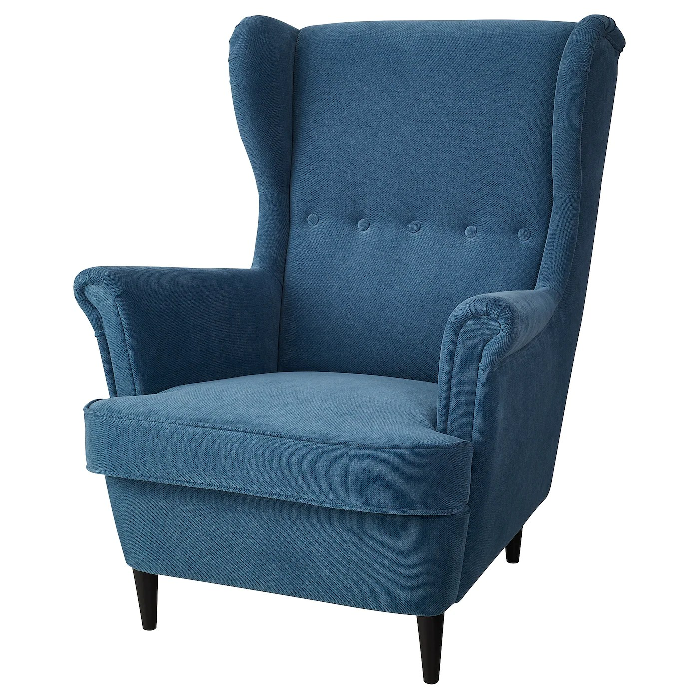 turquoise wingback chair pottery barn leather chairs strandmon wing tallmyra blue ikea