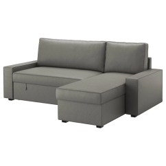Vilasund Cover Sofa Bed With Chaise Longue Seat Height 22 Inches Borred Grey