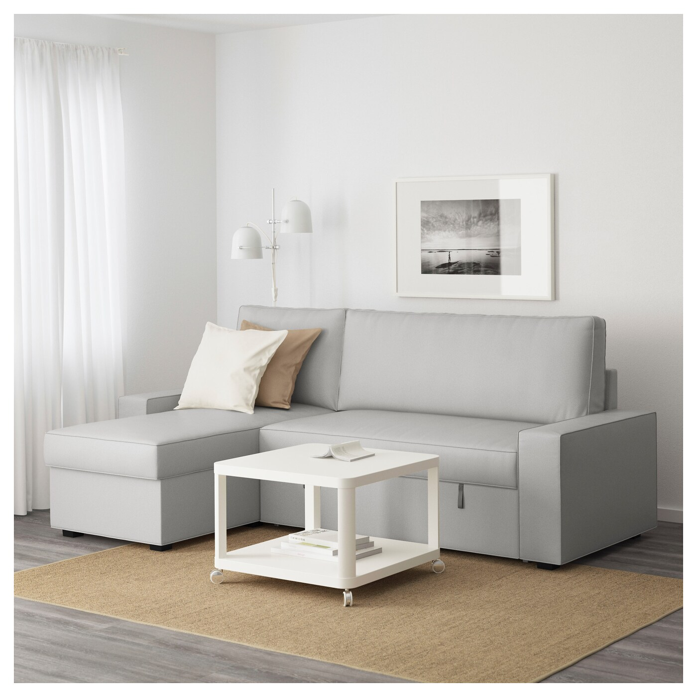 vilasund cover sofa bed with chaise longue sectional for sale ramna light grey ikea