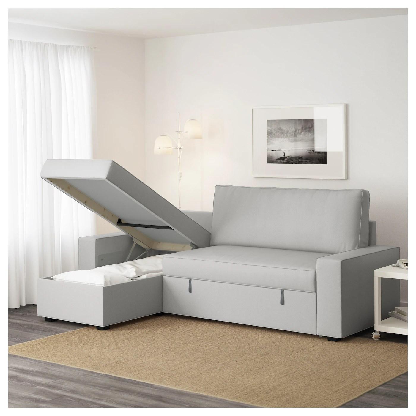 ikea sleeper sofa with chaise bed indonesia vilasund longue ramna light grey