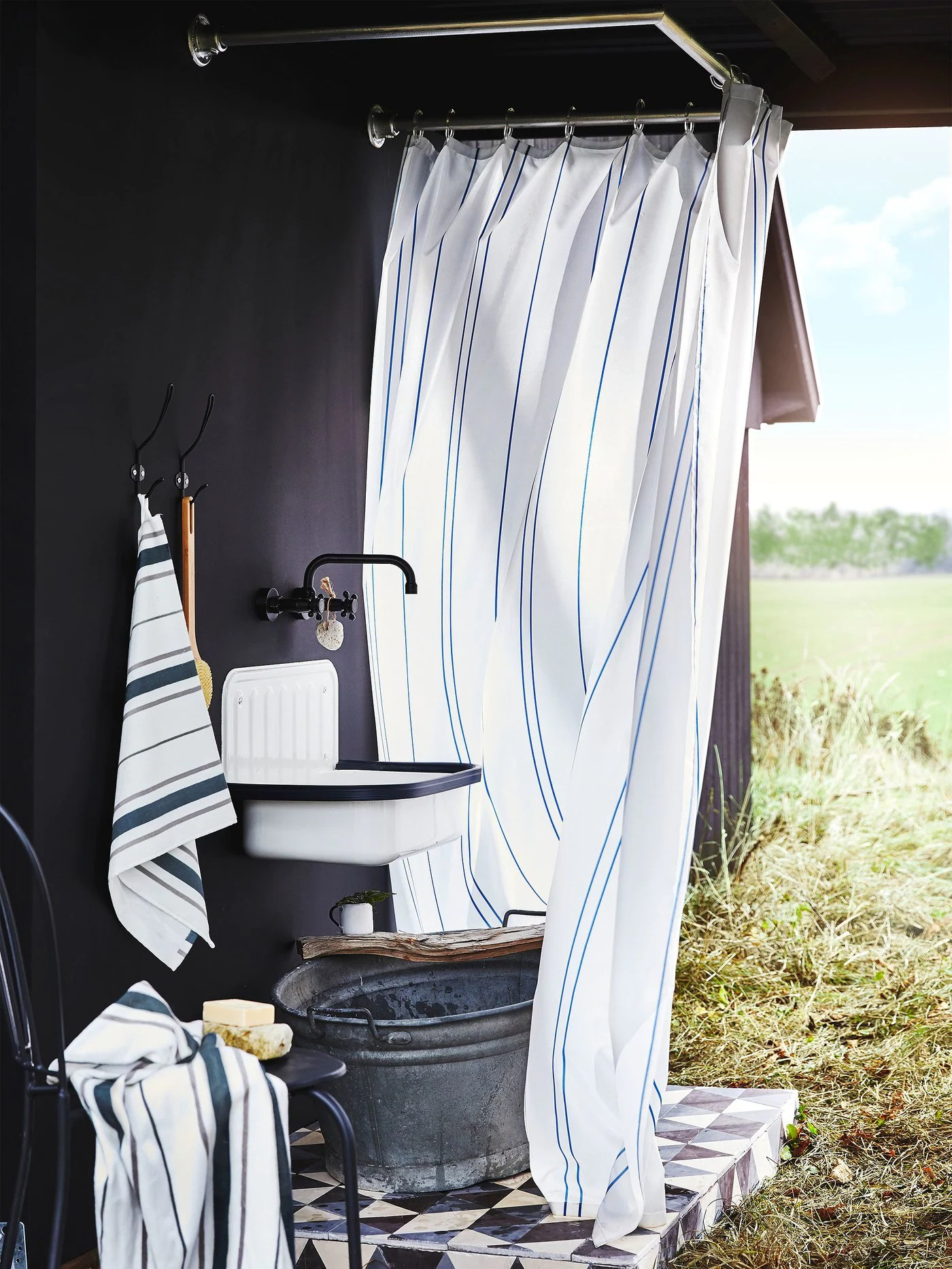 fresh stripes for refreshing showers ikea