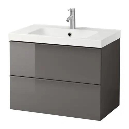 GODMORGON  ODENSVIK Mobile per lavabo con 2 cassetti  lucido grigio  IKEA