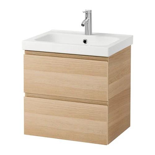 GODMORGON  ODENSVIK Mobile per lavabo con 2 cassetti  effetto rovere con mordente bianco  IKEA