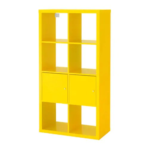 KALLAX Scaffale con ante  giallo 77x147 cm  IKEA