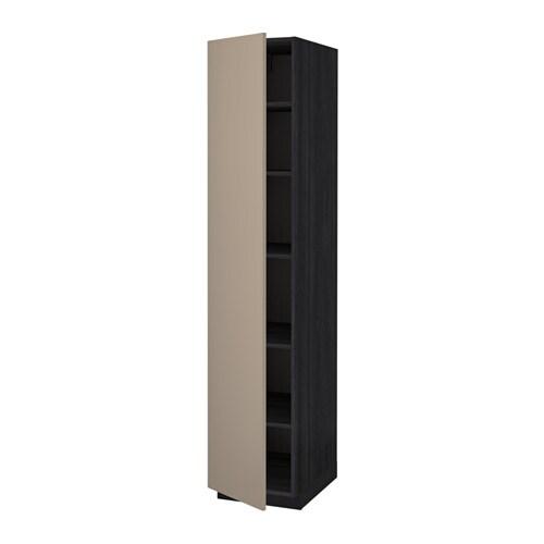 METOD Mobile alto con ripiani  effetto legno nero Ubbalt beige scuro 40x60x200 cm  IKEA