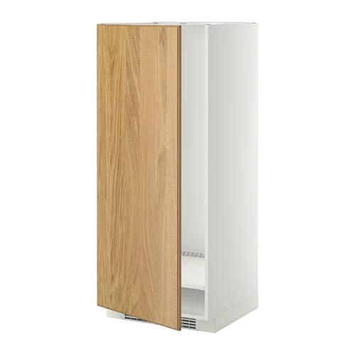 METOD Mobile alto per frigocongelatore  bianco Hyttan impiallacciatura di rovere 60x60x140