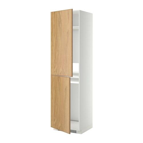METOD Mobile alto per frigocongelatore  bianco Hyttan impiallacciatura di rovere 60x60x220