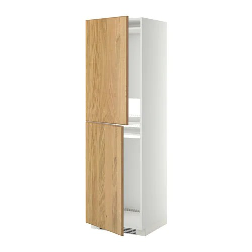 METOD Mobile alto per frigocongelatore  bianco Hyttan impiallacciatura di rovere 60x60x200