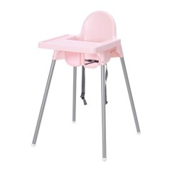 Ikea High Chairs Chair Covers Hire Prices Antilop Highchair With Tray Pink Silver Colour