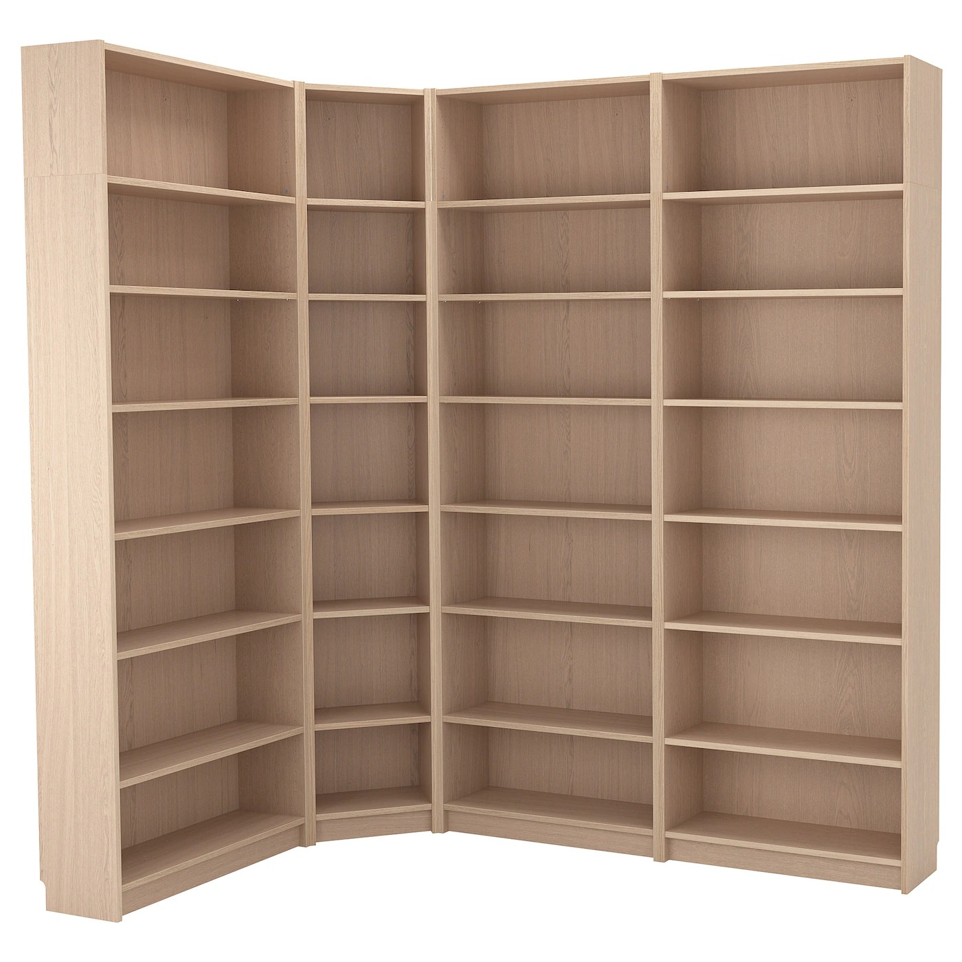 Billy Bookcase Combination Crnr Solution White Stained Oak Veneer