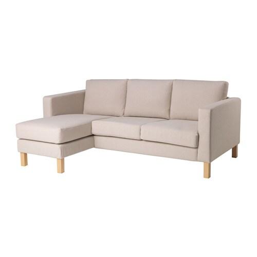 sofa w chaise small corner beds uk karlstad compact 2 seat lounge lofallet beige ikea