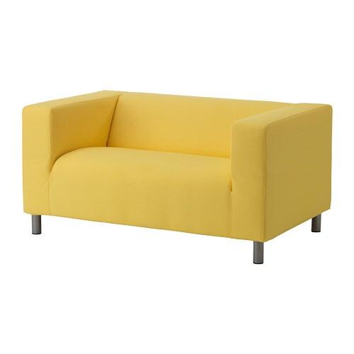 bright sofa one piece stretch slipcover klippan compact 2 seat vissle yellow ikea