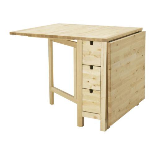 NORDEN ゲートレッグテーブル IKEA カトラリーやナプキンなどの収納に便利な引き出し6個付き 2~4人用。ドロップリーフ2枚付き。必要に応じてテーブルのサイズを変えられます 耐摩耗性に優れた天然の無垢材を使用
