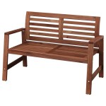 Applaro Bench With Backrest Outdoor Brown Stained Ikea