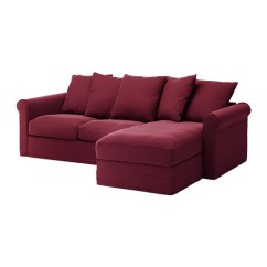 Sofa Seat Height 60cm Best Made Sleepers Gronlid 3 With Chaise Longue Ljungen Dark Red Ikea