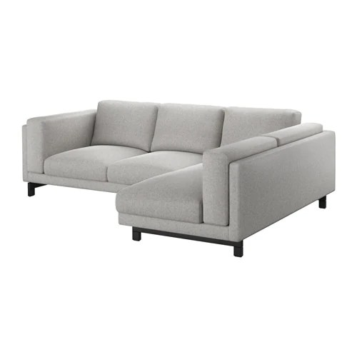 sofa seat height 60cm 2 person dimensions nockeby 3 with chaise longue wood ikea