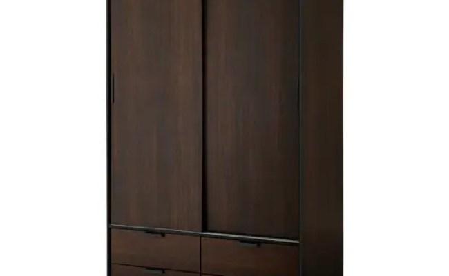 Trysil Wardrobe W Sliding Doors 4 Drawers Dark Brown Ikea