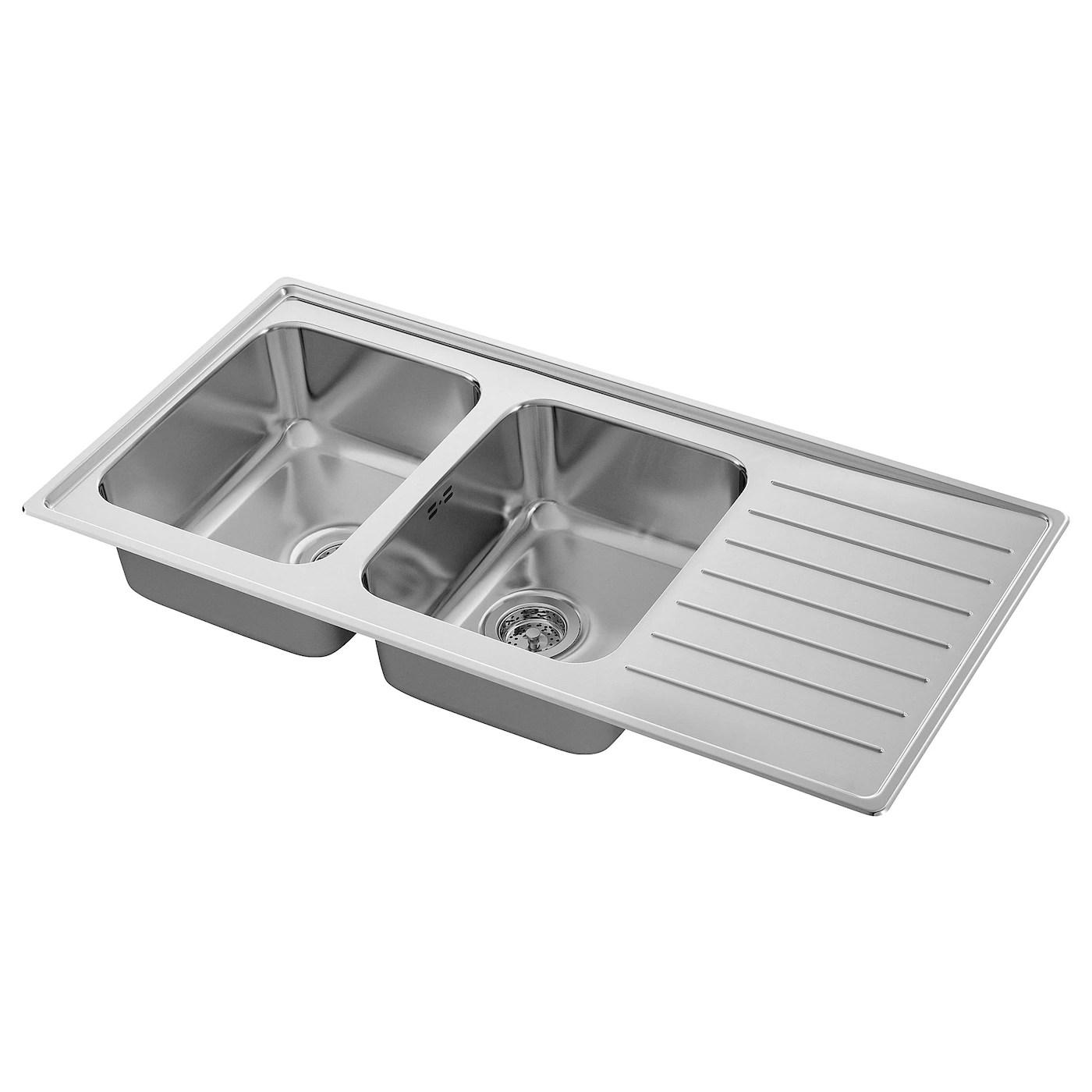 vattudalen inset sink 2 bowls with drainboard stainless steel 110x53 cm