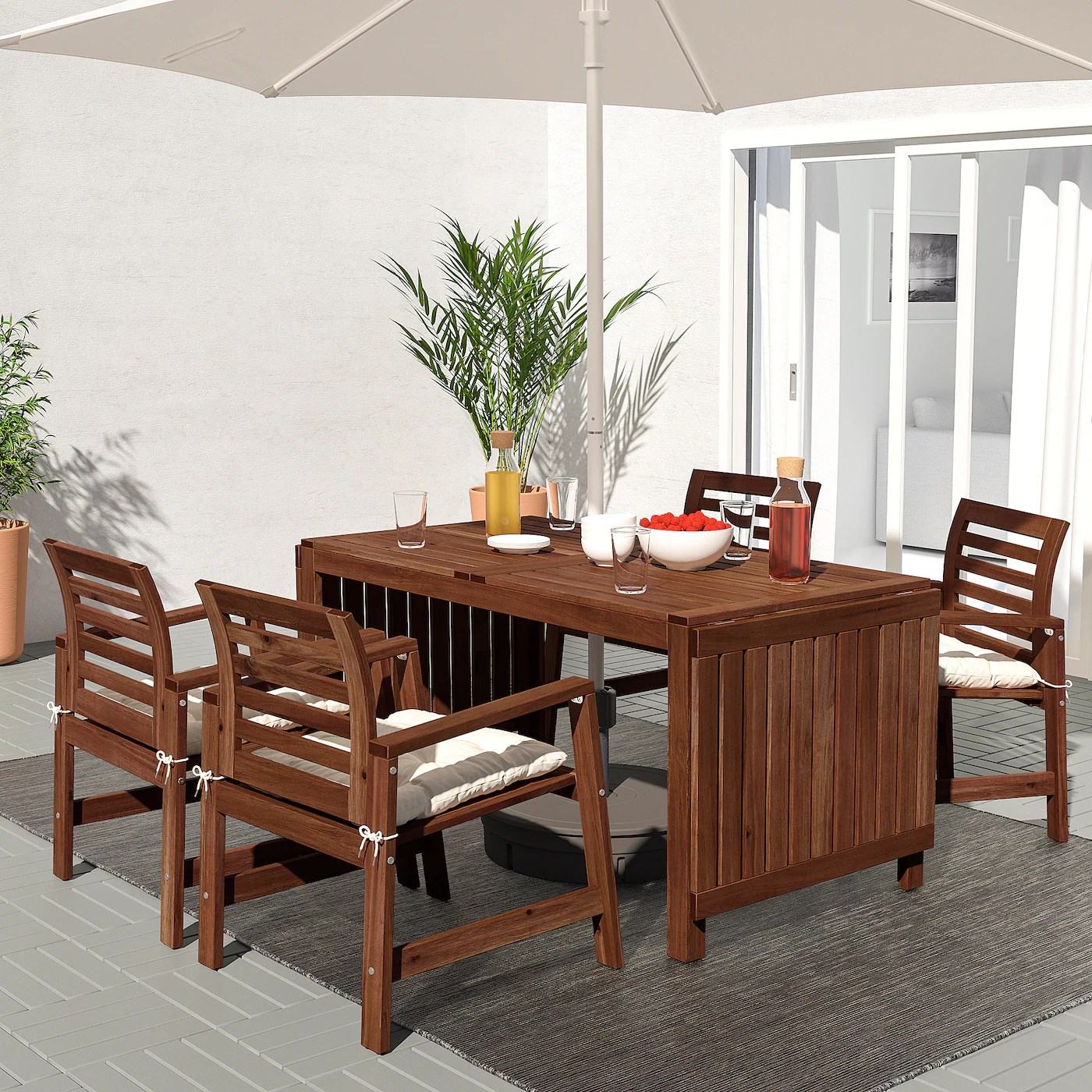 Applaro Chair With Armrests Outdoor Brown Stained Ikea