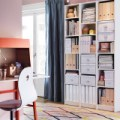 White billy bookcases and an ikea ps 2014 bureau in orange