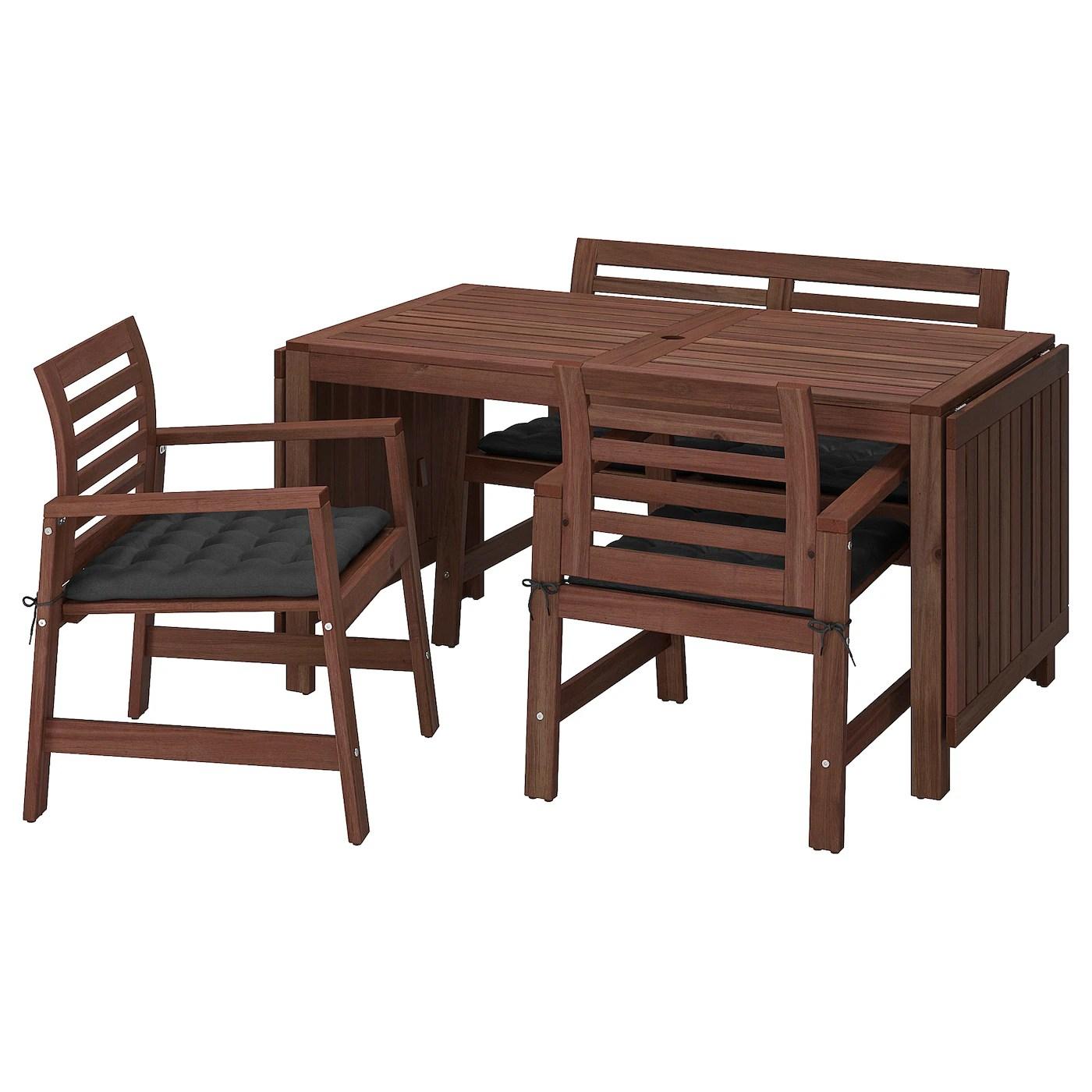 Applaro Table 2 Chrsw Armr Bench Outdoor Black Ikea