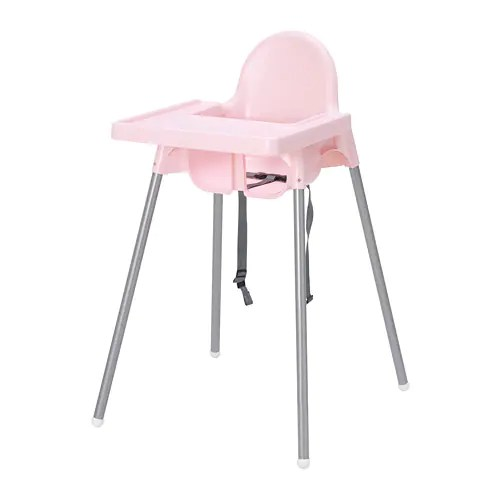 antilop high chair drop leaf table with storage highchair tray - pink/silver-colour ikea