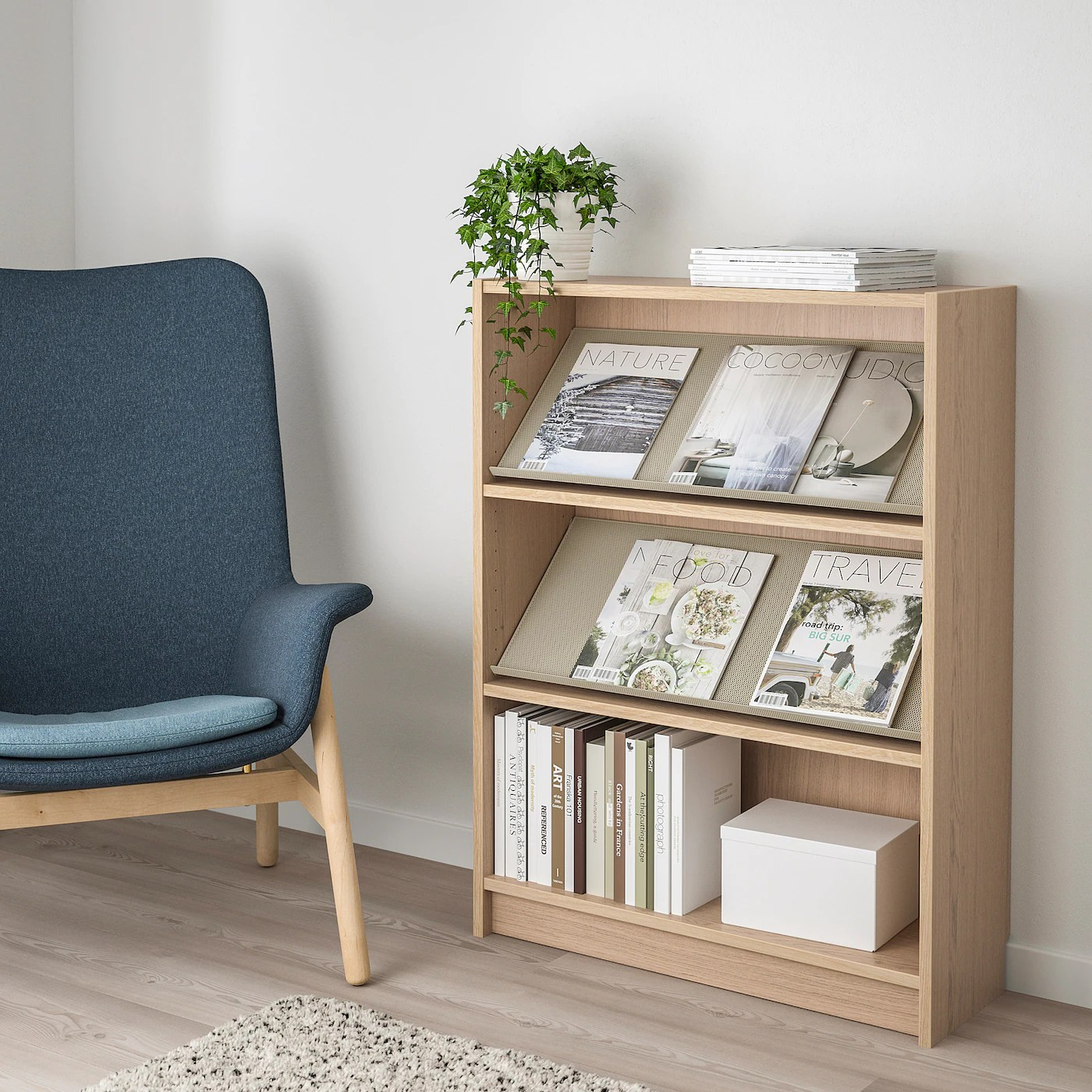 BILLY / BOTTNA Bookcase with display shelf   white stained ...