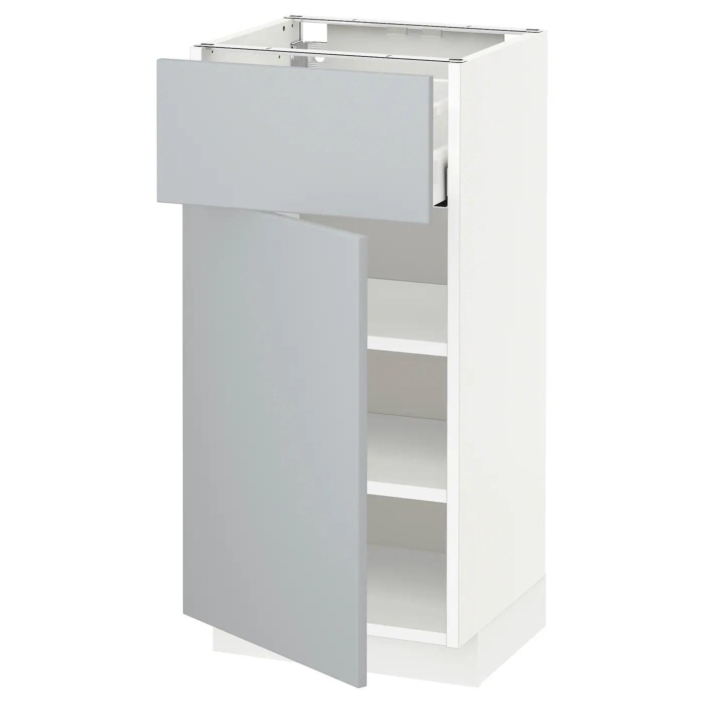 metod maximera base cabinet with drawer door white veddinge grey 40x37 cm