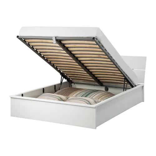 HERDLA Bedframe met opbergruimte  wit 140x200 cm  IKEA