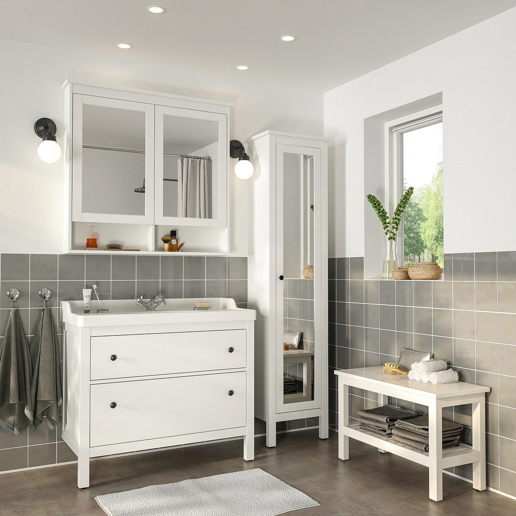 Hemnes Rattviken Mobilier Salle De Bain 5 Pieces Blanc Runskar Mitigeur Lavabo Ikea