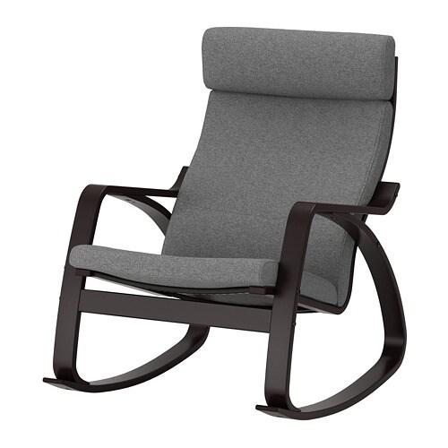 Poäng Rocking Chair Black Brown Lysed Grey