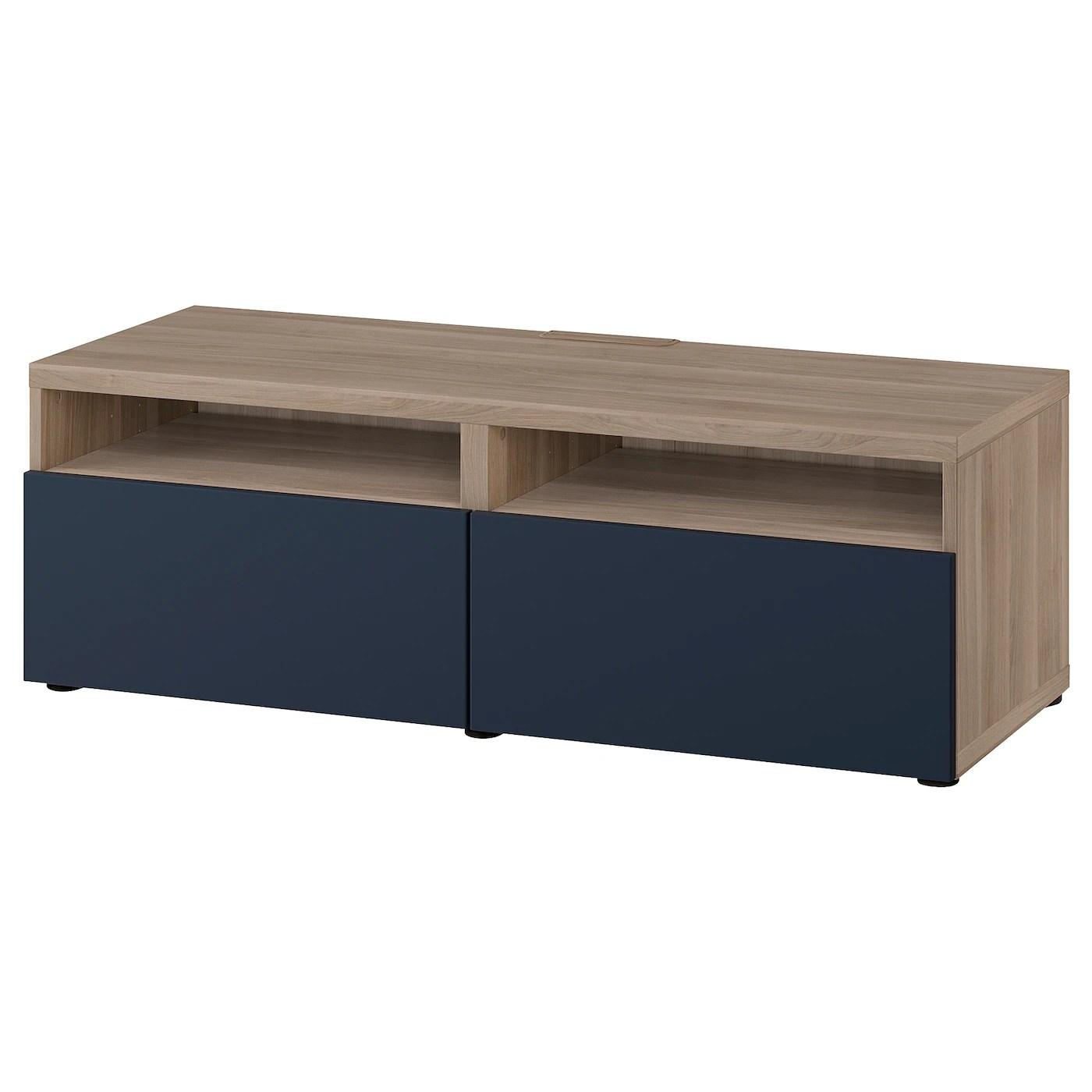 besta tv bench with drawers grey stained walnut effect notviken blue 120x42x39 cm