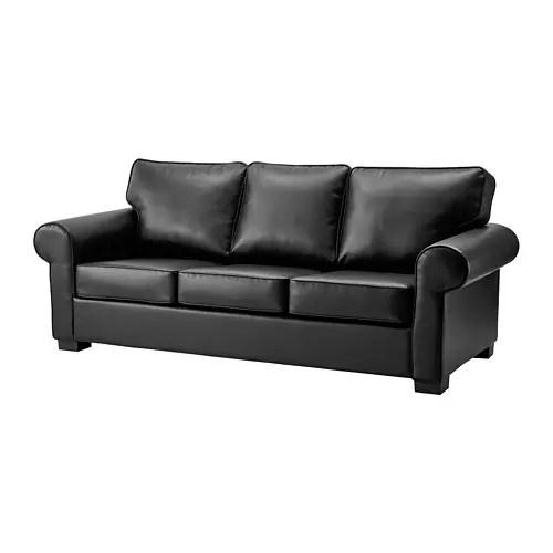 clean leather sofa with damp cloth franklin bed ektorp three seat kimstad black ikea
