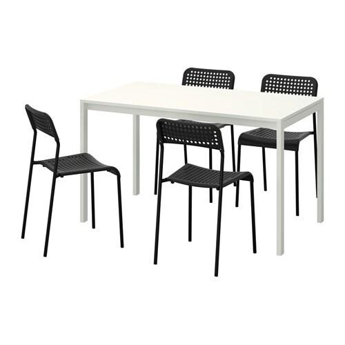 MELLTORP / ADDE Bord och 4 stolar IKEA Bordsskivan i melamin är fukttålig, fläcktålig och lätt att hålla ren.