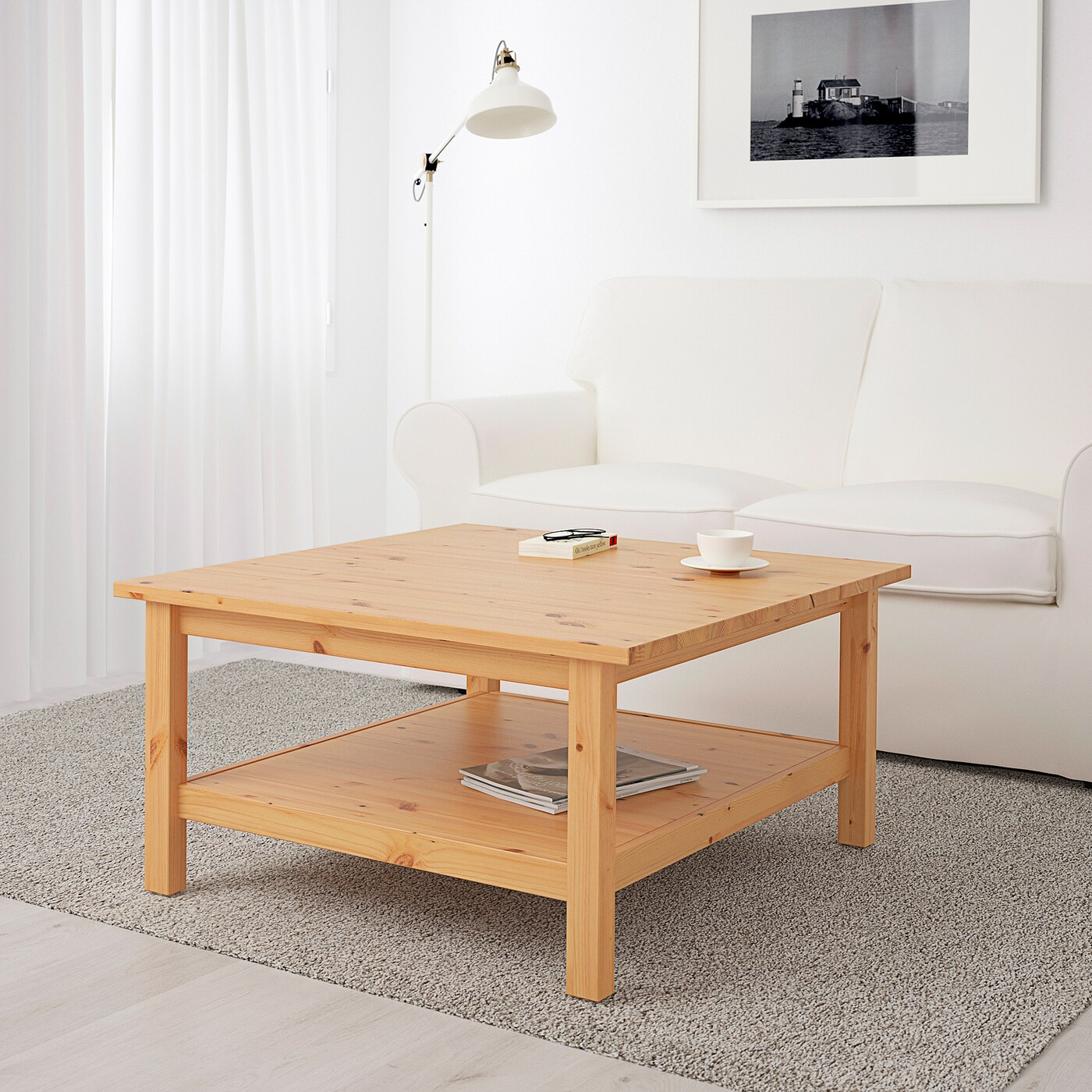 hemnes coffee table light brown 90x90 cm