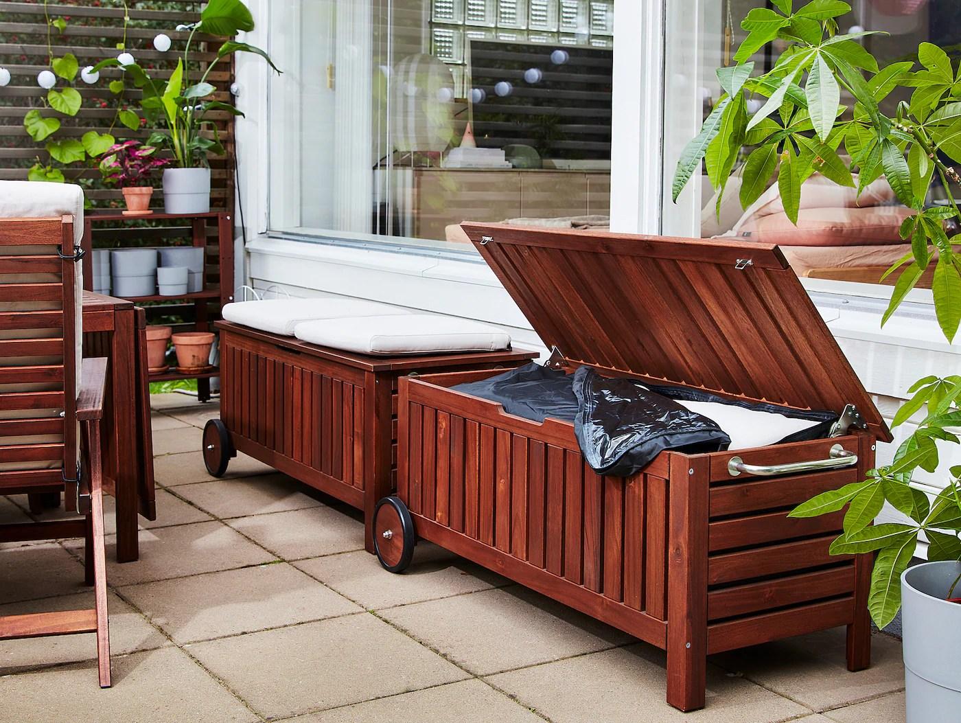 applaro storage bench outdoor brown stained 50 3 8x22 1 2