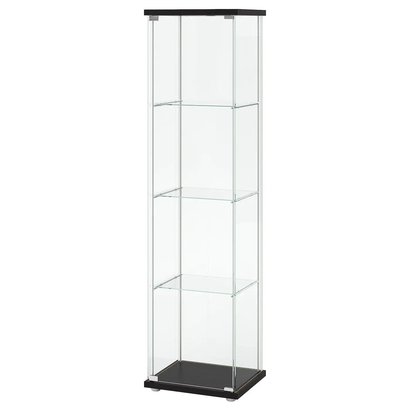 detolf glass door cabinet black brown 16 3 4x64 1 8