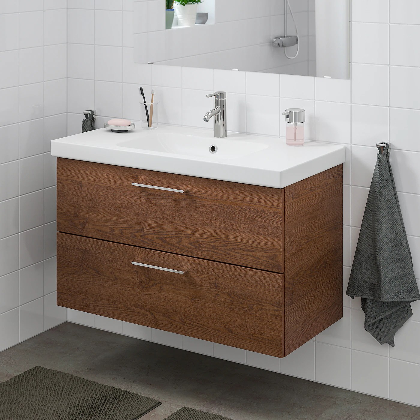 Godmorgon Odensvik Sink Cabinet With 2 Drawers Brown Stained Ash Effect Dalskar Faucet 40 1 2x19 1 4x25 1 4 Order Here Ikea