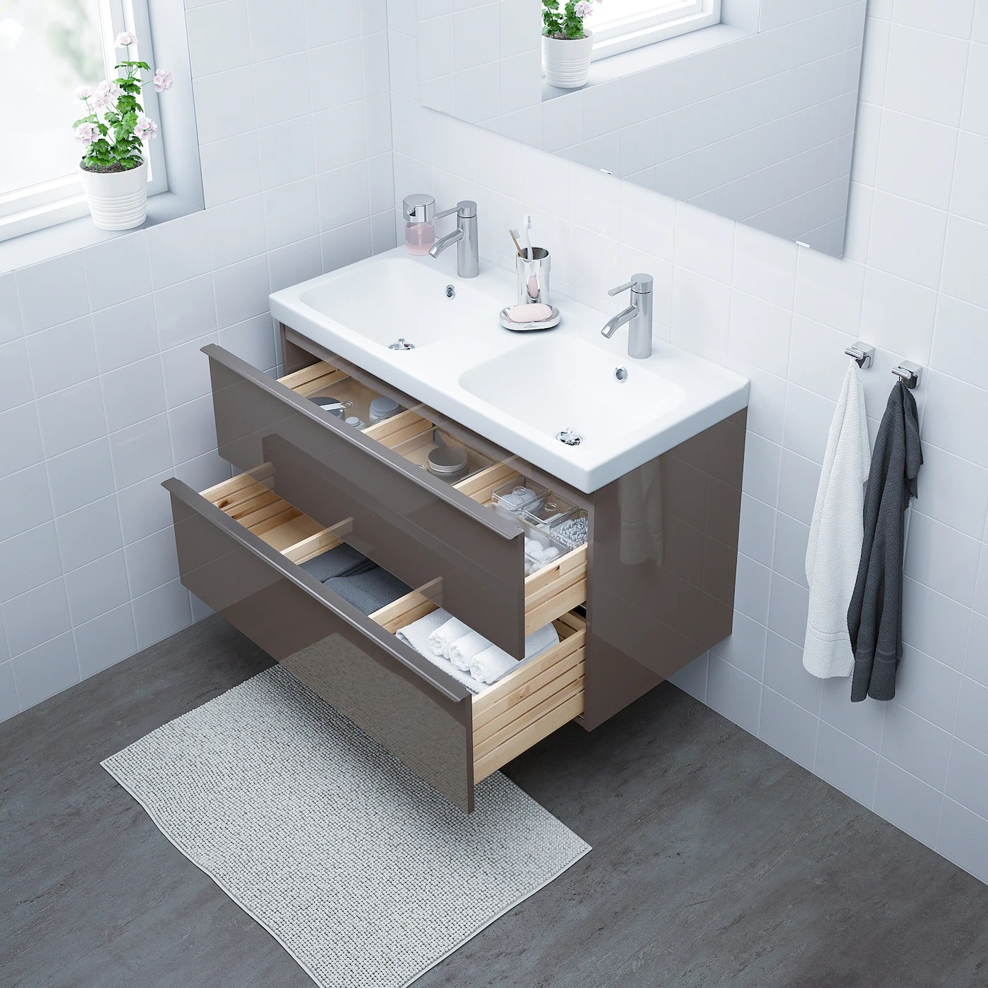 godmorgon odensvik sink cabinet with 2 drawers high gloss gray dalskar faucet 40 1 2x19 1 4x25 1 4