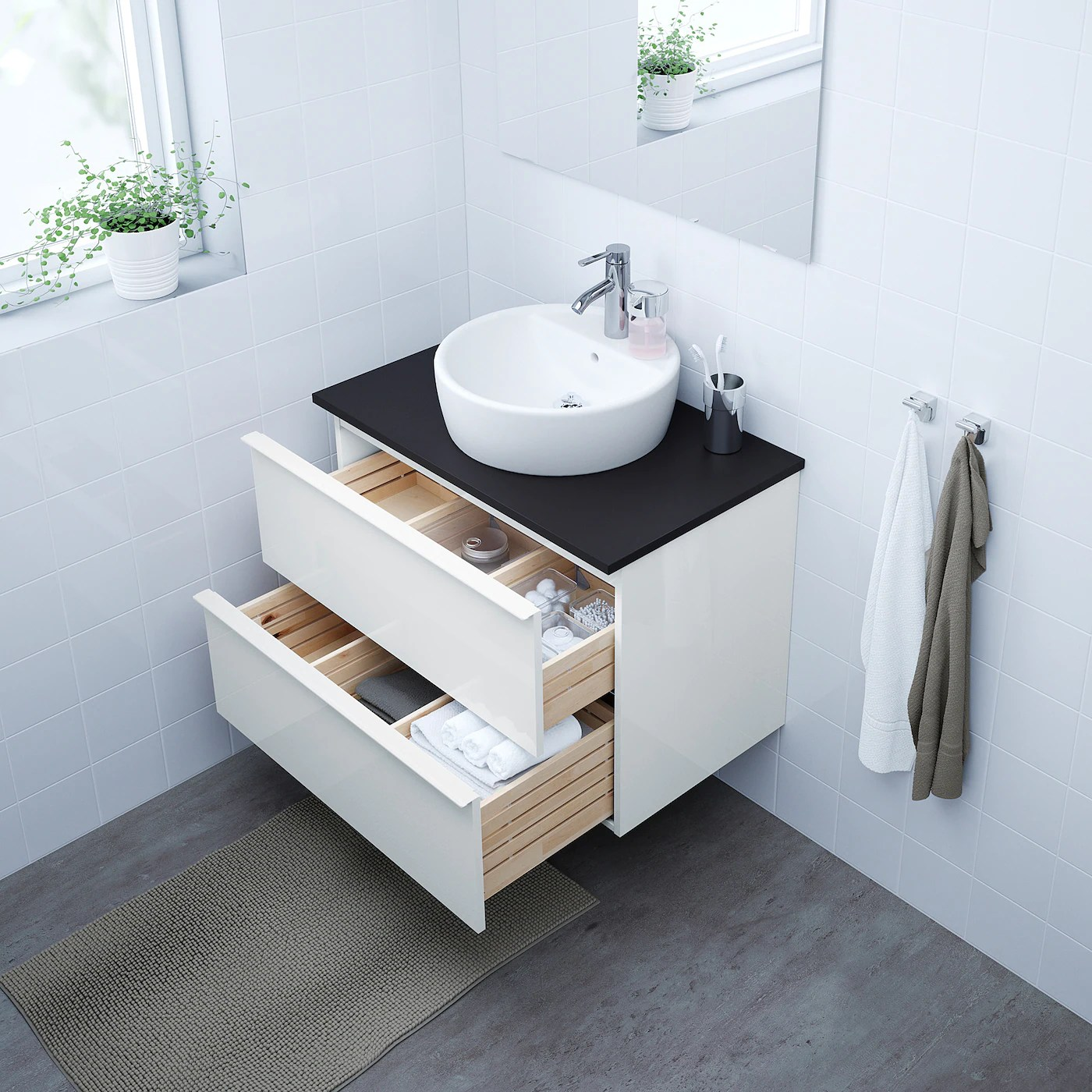 godmorgon sink cabinet with 2 drawers high gloss white 31 1 2x18 1 2x22 7 8