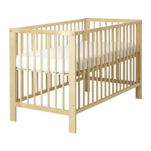 """GULLIVER Crib  Length: 53 1/2 """" Width: 29 1/2 """" Height: 32 5/8 """" Bed width: 27 1/2 """" Bed length: 52 """"  Length: 136 cm Width: 75 cm Height: 83 cm Bed width: 70 cm Bed length: 132 cm"""