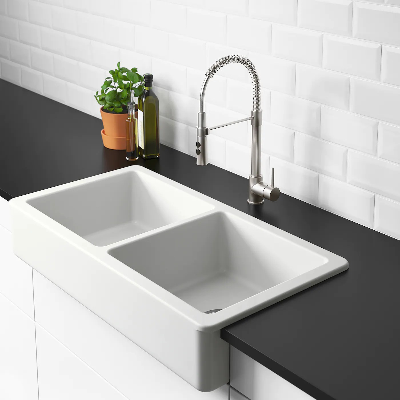 havsen apron front double bowl sink white 37x19
