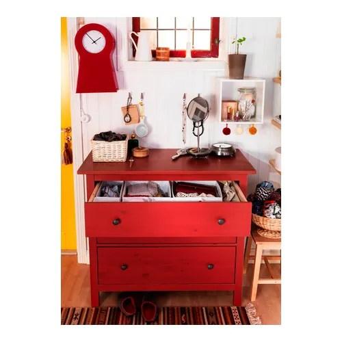 "HEMNES 3 drawer chest, red Width: 43 1/4 "" Depth: 20 1/8 "" Height: 38 1/4 ""  Width: 110 cm Depth: 51 cm Height: 97 cm"
